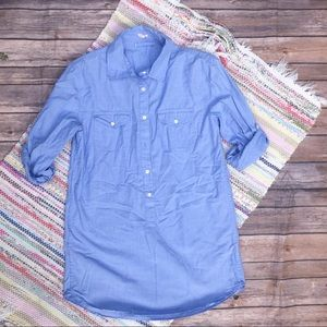 Jcrew Chambray Half Button Down Long Sleeve Top
